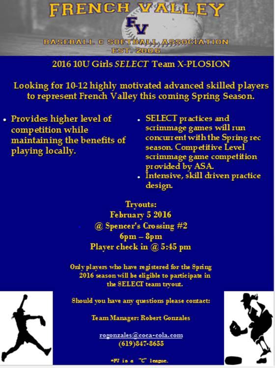 Documents   French Valley Baseball Softball Association