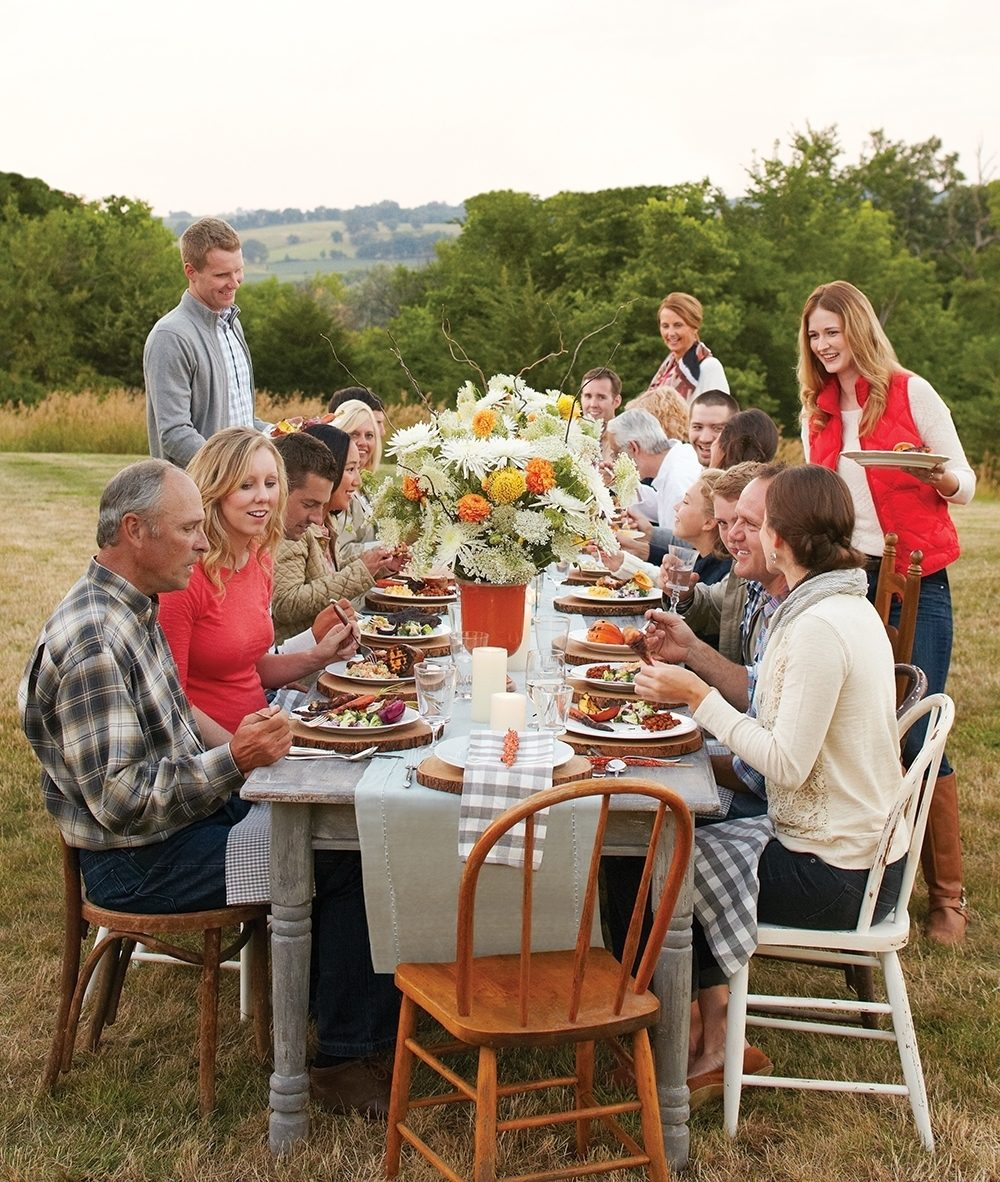 There is no seating chart at this relaxed outdoor fall party. The idea is to let everyone land where they please.