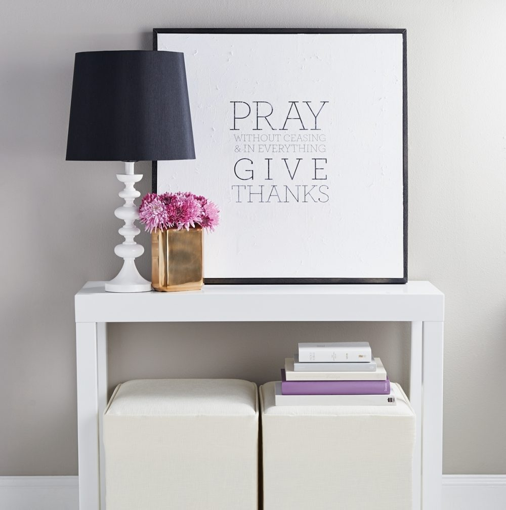 Bible verse 1 Thessalonians 5:17 has drama on an oversized piece of art.