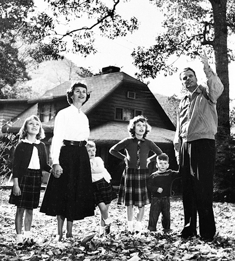 Billy, Ruth and their kids in Montreat, North Carolina, still the family home.