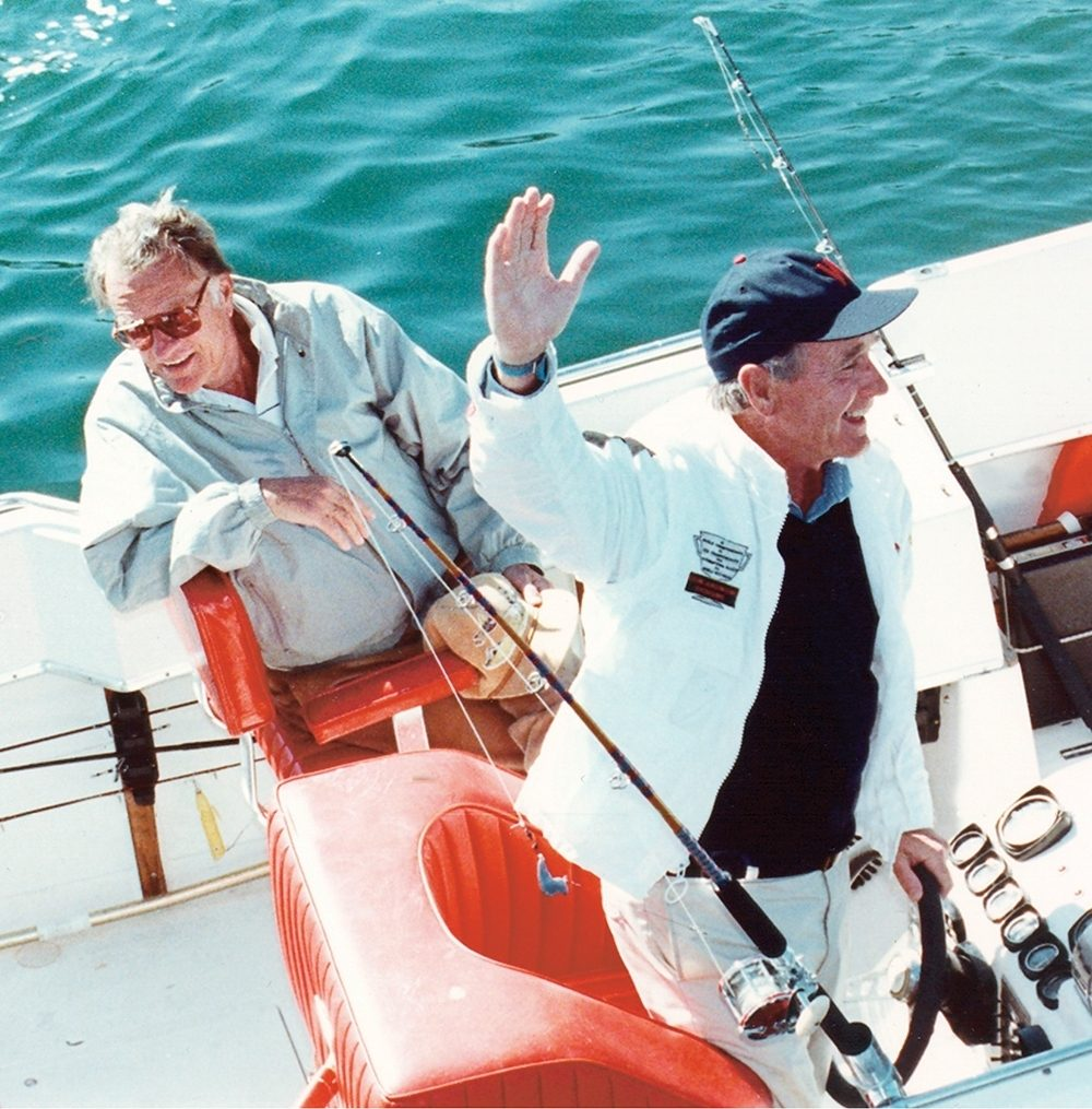 Billy relaxing at sea with President George H. W. Bush.