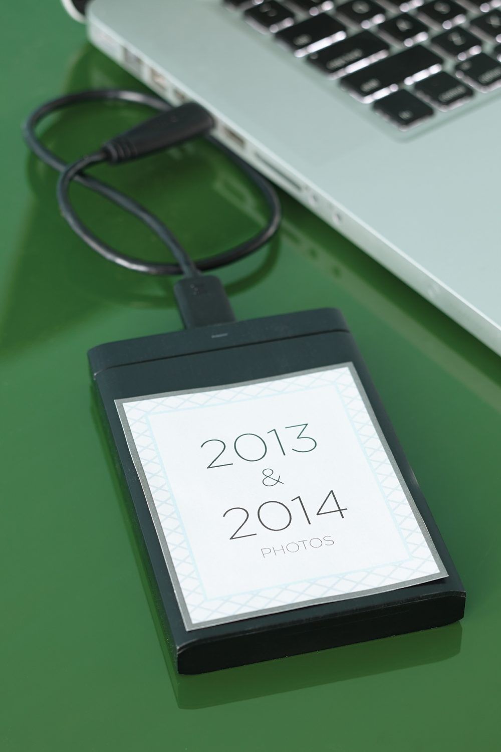 Clearly label storage devices, such as this hard drive, so you can find your photos quickly.