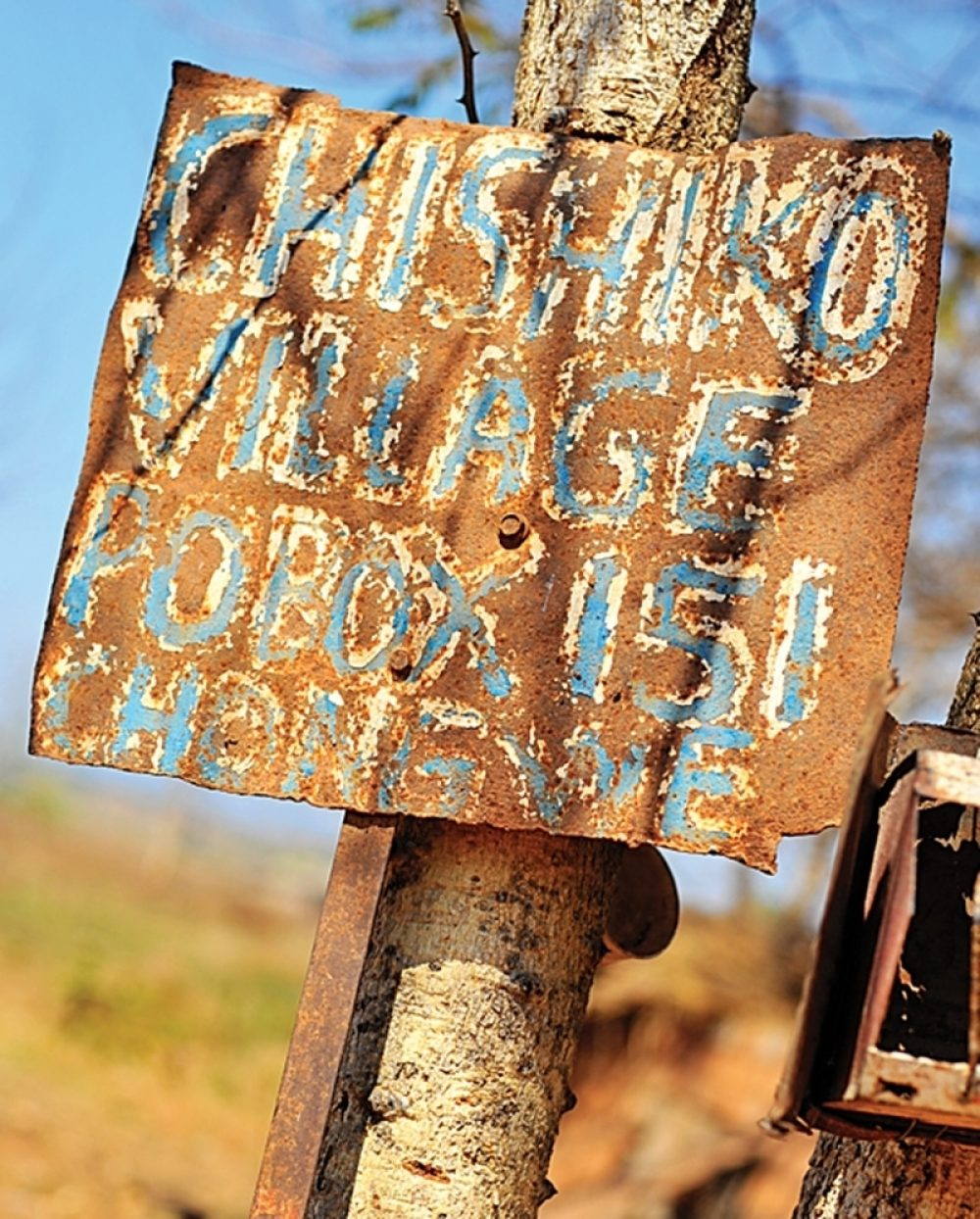 A postal sign for the village of Chishiko in Zambia