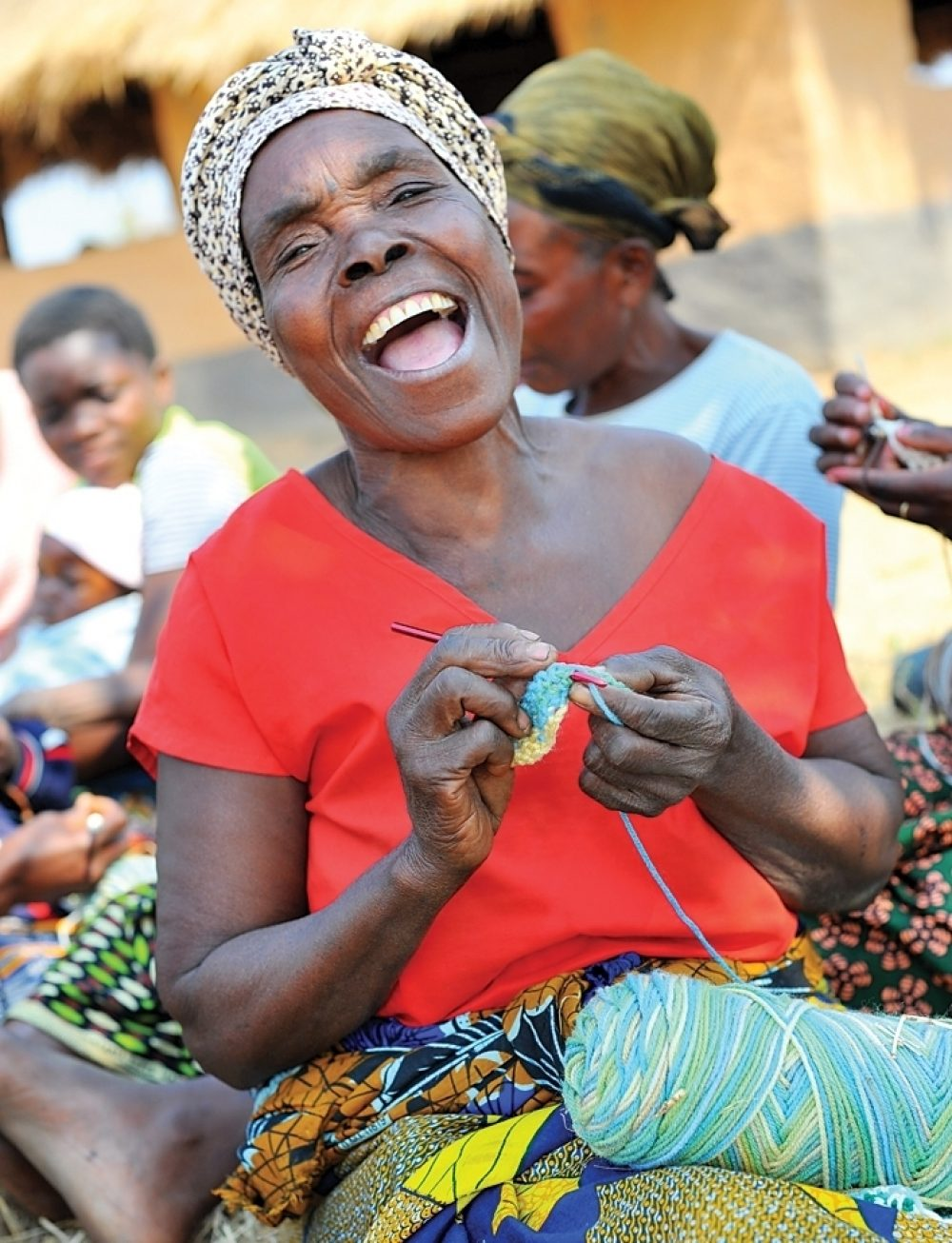 A member of the women's group crochets in Chishiko, Zambia.
