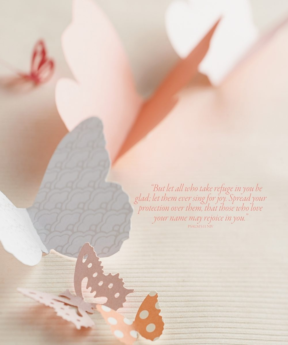 A variety of paper butterflies are pictured with the Bible verse Psalms 5:11