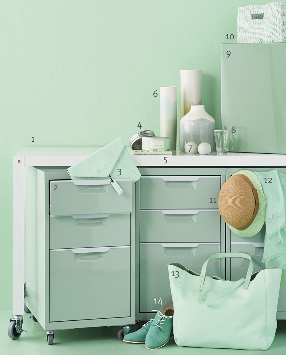 A display of a variety of mint-colored items