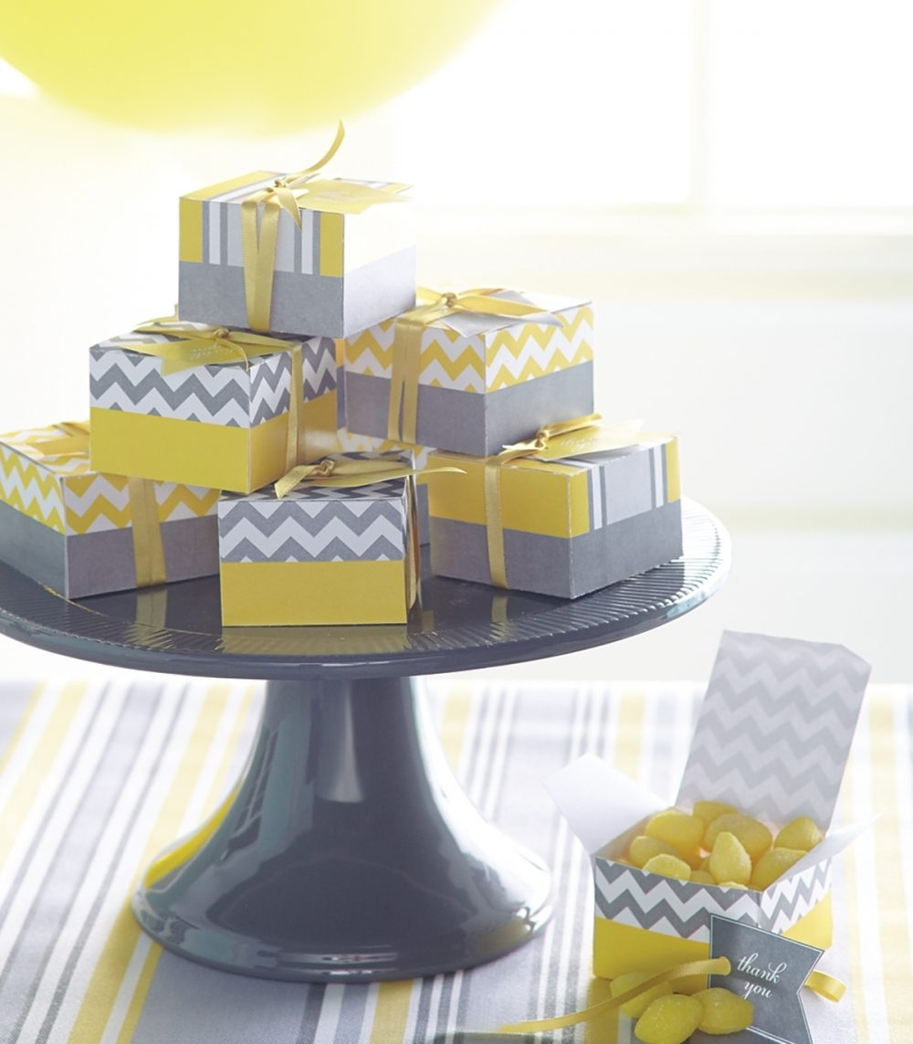 Favor boxes were filled with yellow candies. The boxes were made from a template printed onto cardstock.