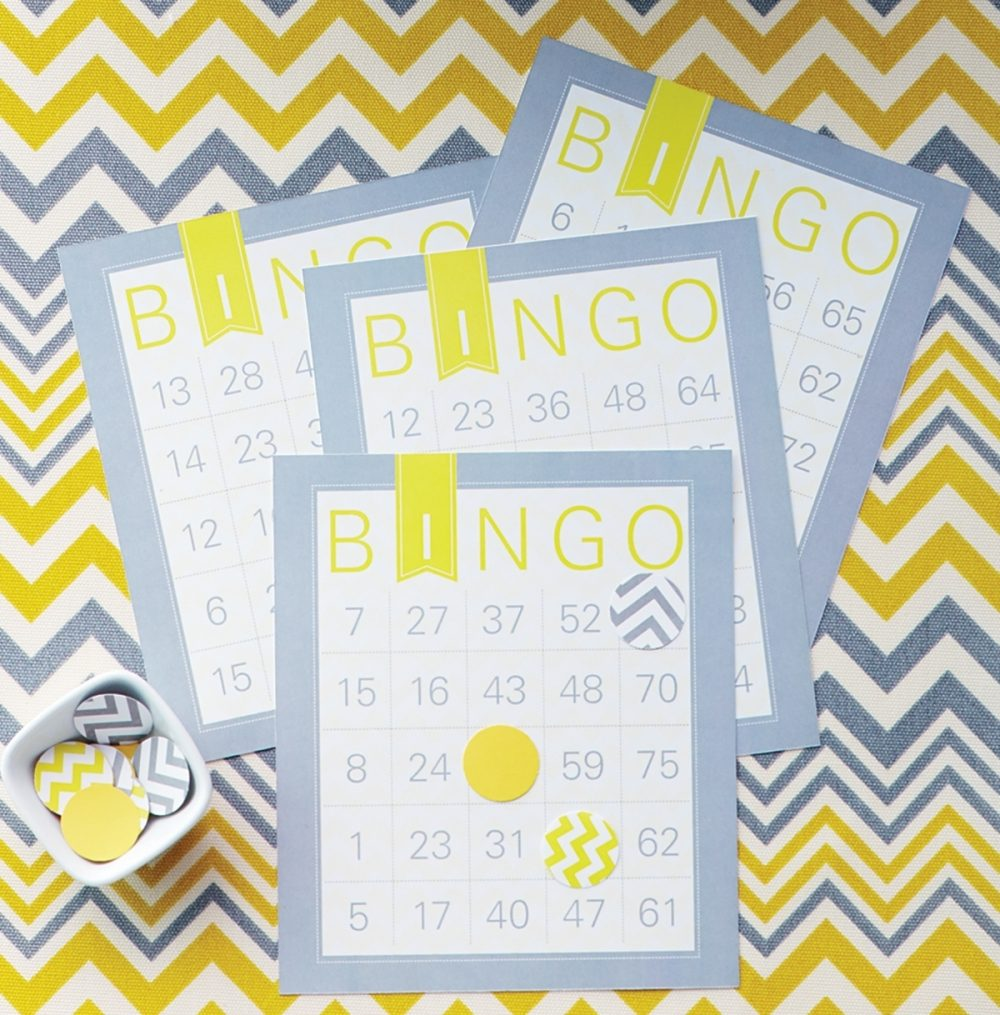 DIY Bingo cards for a game at a co-ed baby shower.