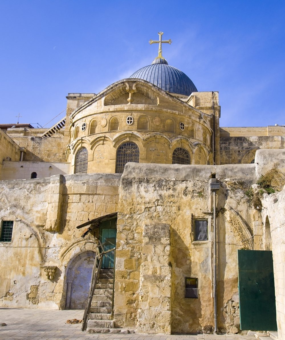 The Church of the Holy Sepulchre was built over Golgotha, where Christ was crucified. It is said to contain the burial place of Christ.