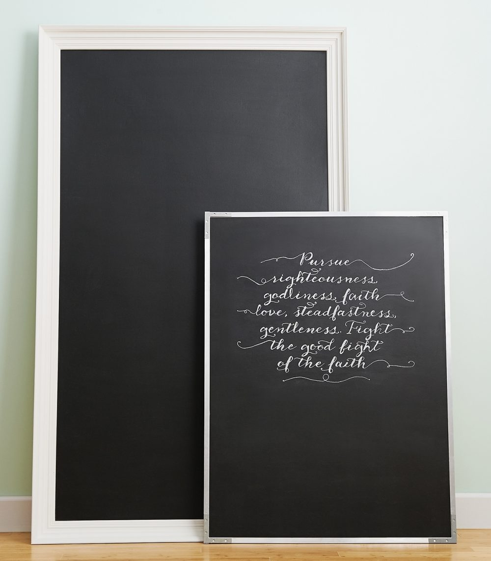 Plywood, paint and trim are all that are needed to make a big-statement chalkboard. Show off a Bible verse in your living room.