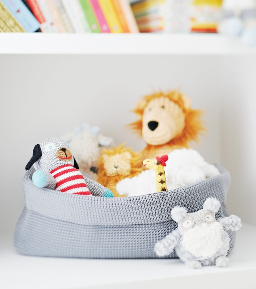 Stuffed animals are corralled in soft-side bins, which also could hold socks and T-shirts.