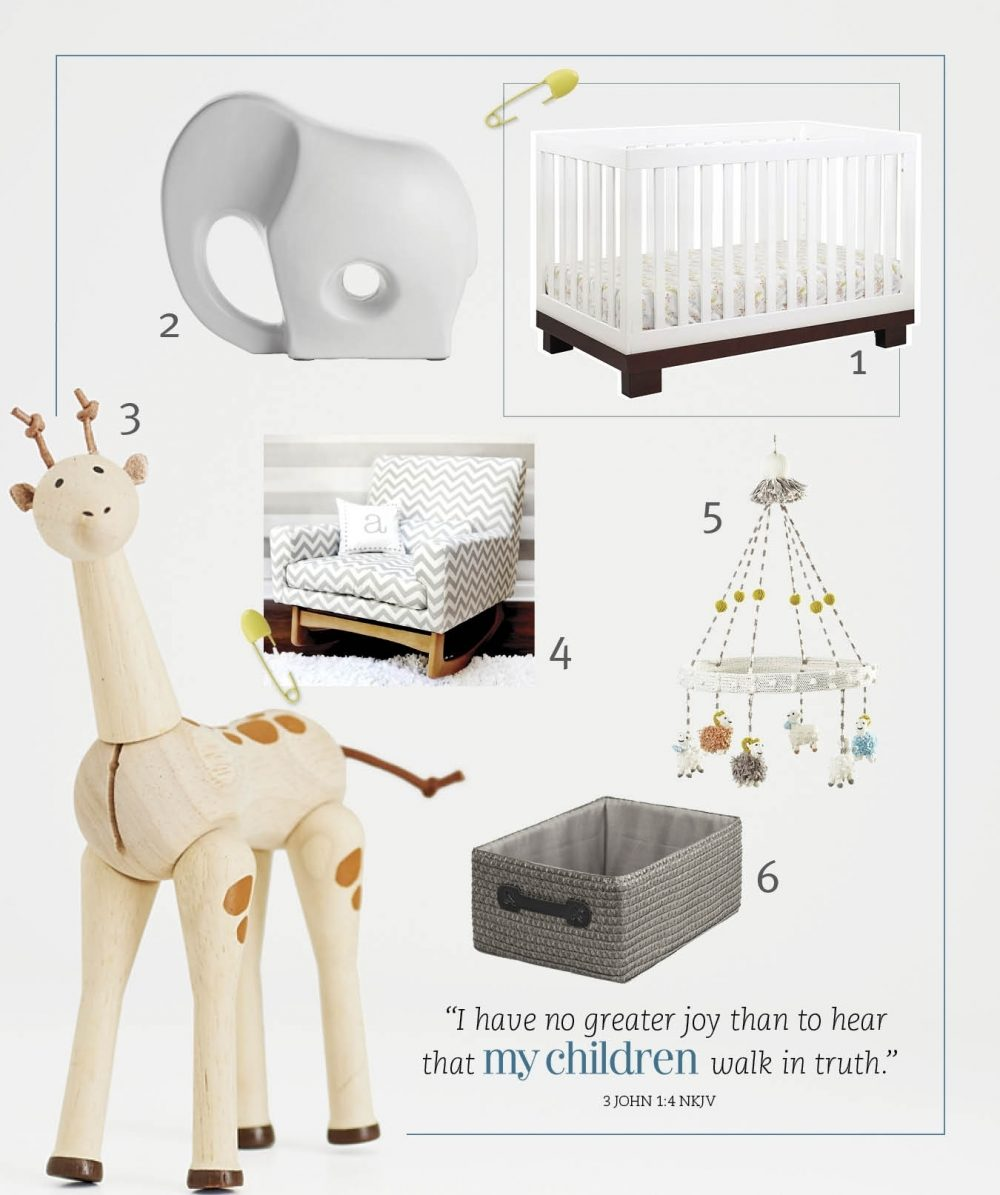 A round-up of items for a baby's nursery.