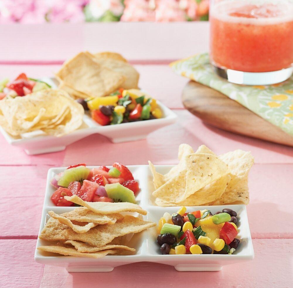 Mango-Black Bean Salsa and Watermelon Salsa pair with Strawberry Fizzers.