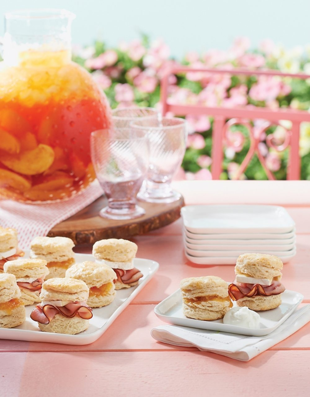 A versatile recipe, Biscuit Stacks can be served in savory and sweet ways; either is great accompanied by Peach Iced Tea.