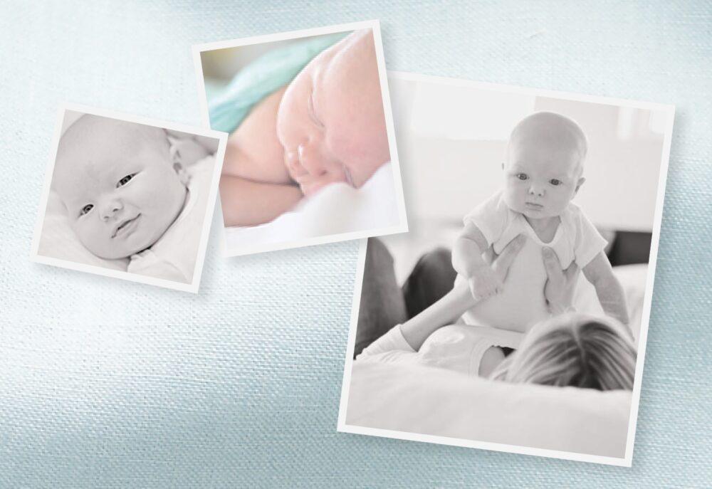 A spread of baby photos.