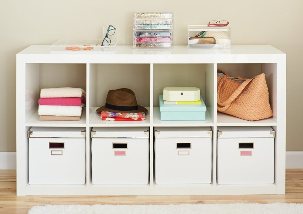 Organize your clothing and accessories with smart storage solutions like this cubby system.