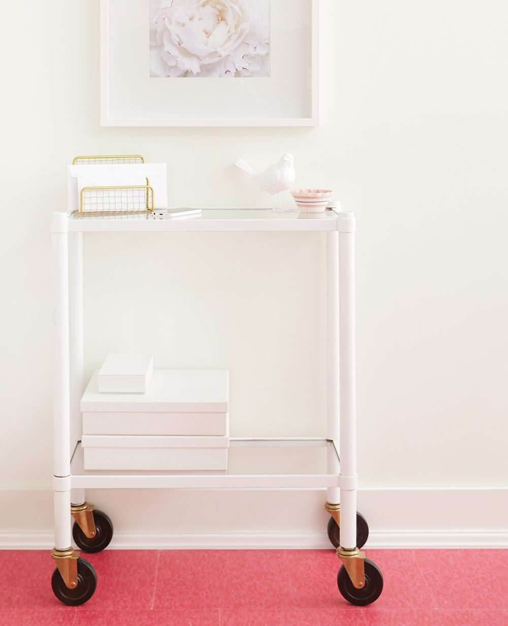 Old glass shelves get a practical and playful makeover.