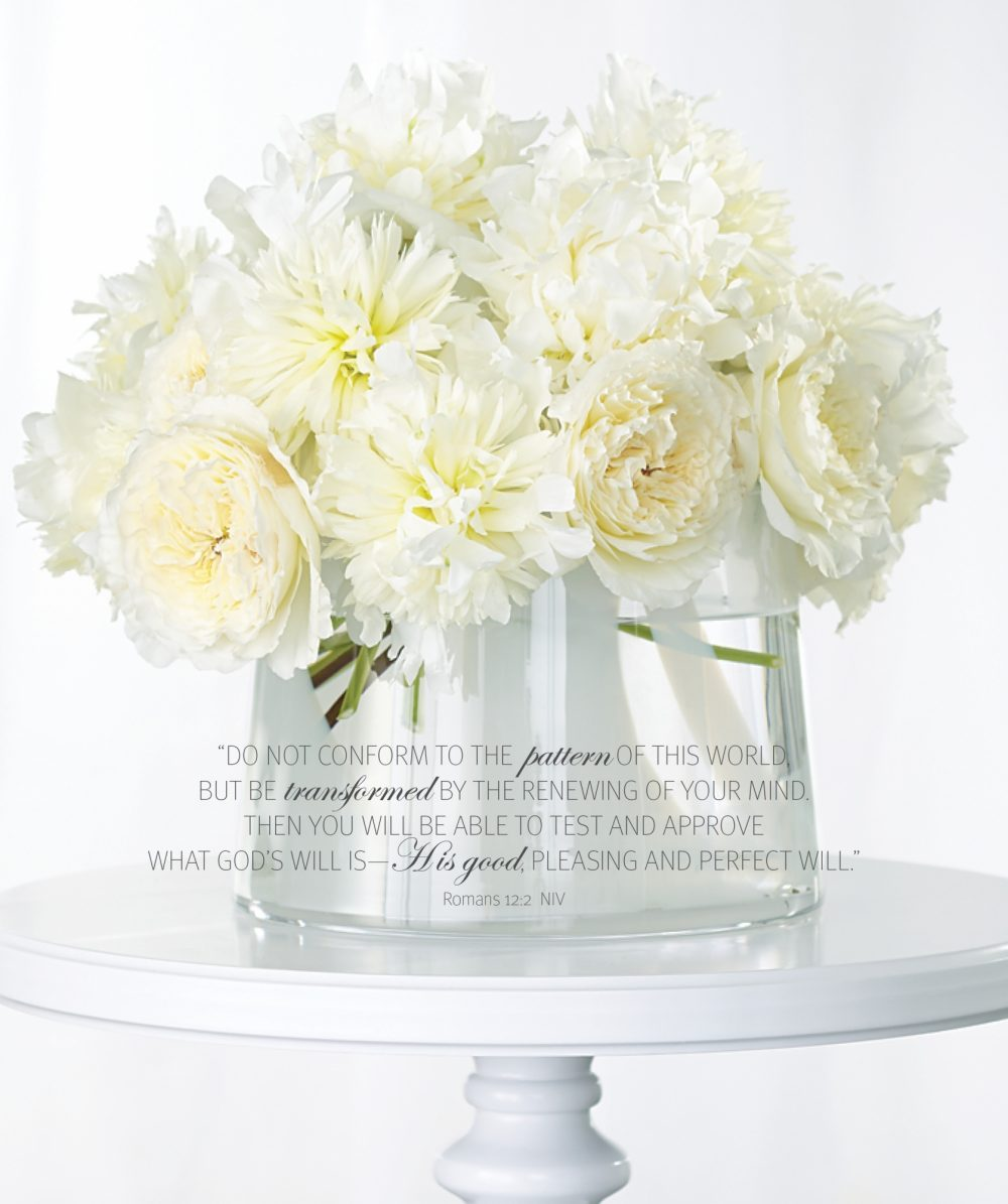 A vase of white flowers is the background for the Bible verse Romans 12:2