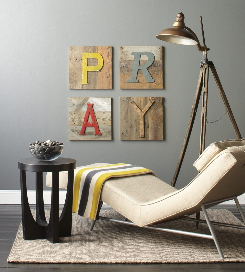 Calm and inviting, this restful space encourage prayer. Physical comforts include a thick rug for bended knees, a small table, a comfy chaise and good lighting for Bible reading or journaling. Wall art serves as a reminder to pray.