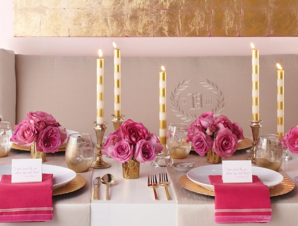 This table setting begs guests to relax and be pampered. Lush pink garden roses, glittering gold accents and luxurious ribbon-trimmed napkins set an elegant tone.