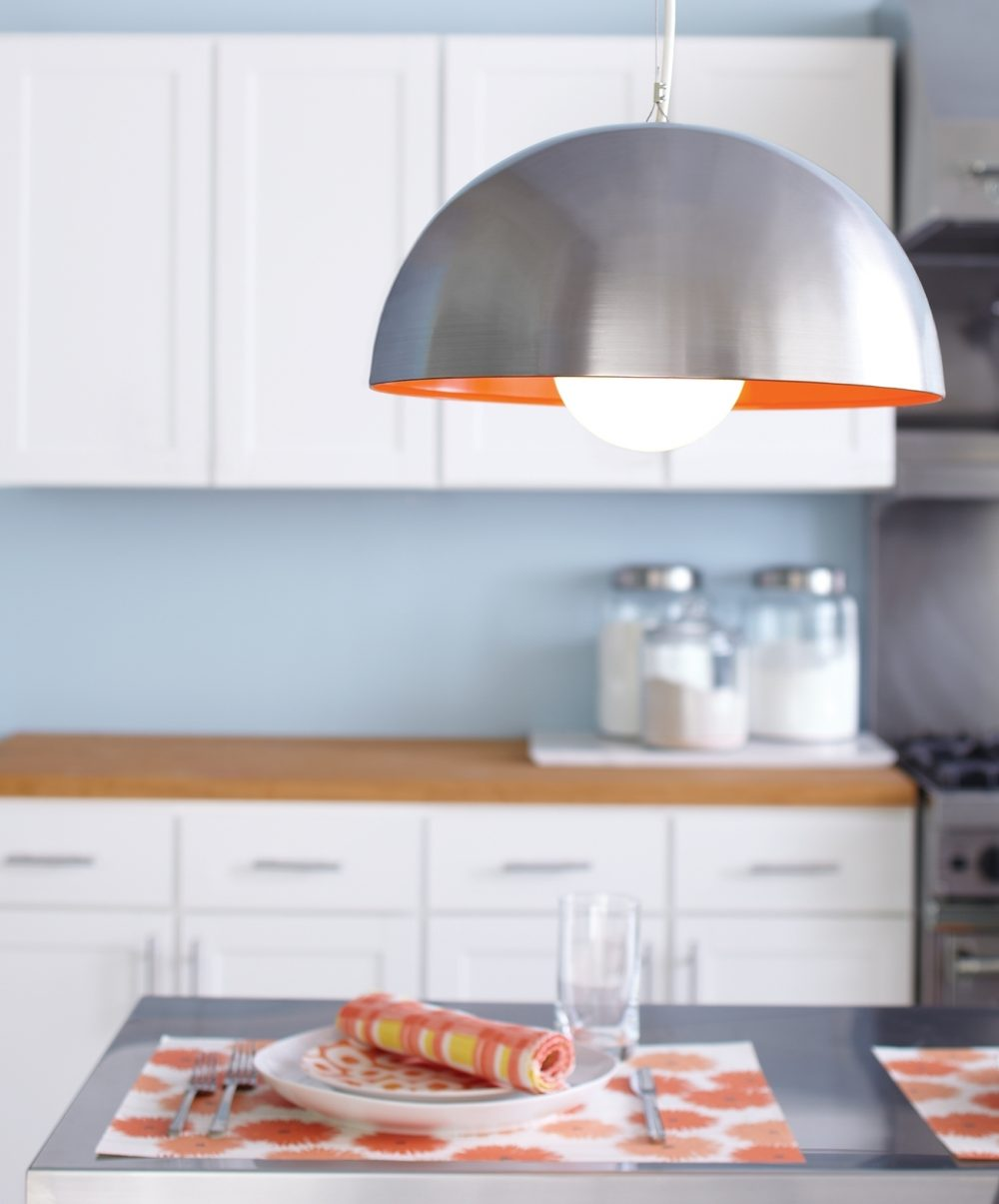 Here's a lustrous light for your kitchen that you can make from a metal mixing bowl.