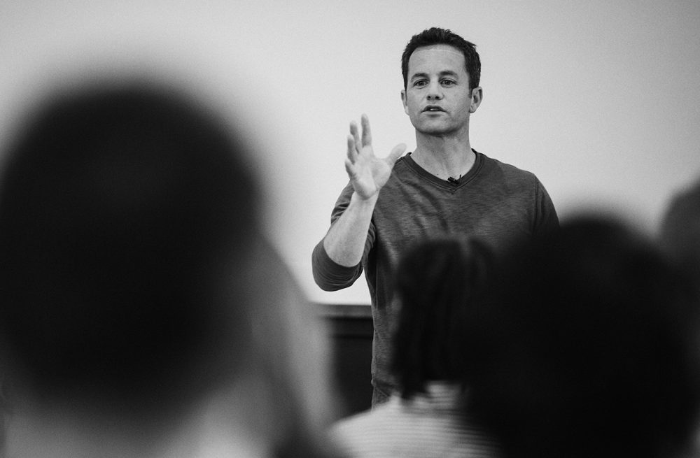 Kirk Cameron speaks to a group of Liberty University students. In the past two years, he has partnered with the school's students, particularly those studying film.