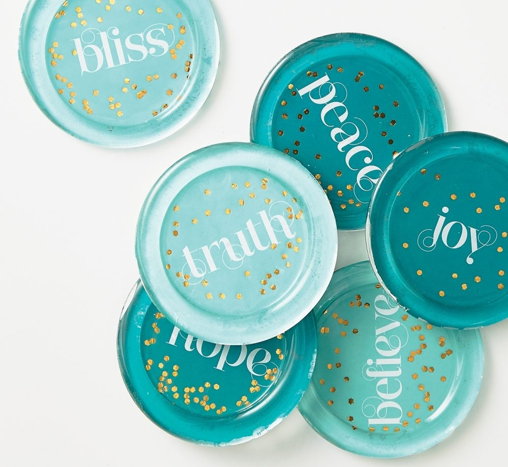 Glass coasters: Coordinate these coasters with the recipient's room decor. Star with glass disks usually seen under pillar candles, then add our inspirational backgrounds or make your own with personalized sentiments or monograms.