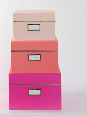 Organize your clothing and accessories with smart storage solutions. Lidded boxes are great for hiding messy collections.