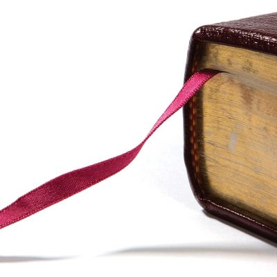 ribbon bookmark in a Bible
