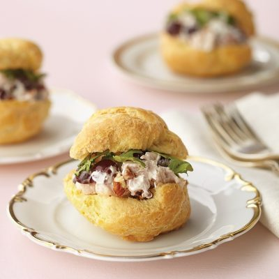 Studded with toasted pecans and sweet red grapes, chicken salad this good deserves distinctive staging. Present it in tender cream puff bowls with matching lids for a lunch entree, accompanied by crisp greens or pureed soup. It's an elegant choice when having friends over for a light repast.