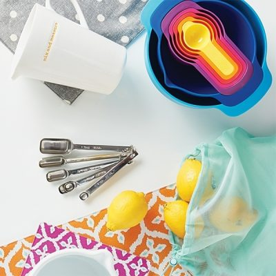 Kitchen items in bright colors