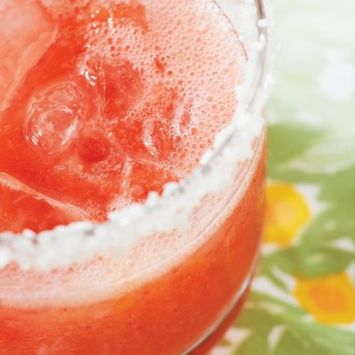 Strawberry Fizzers require only blending together strawberries and lime soda.