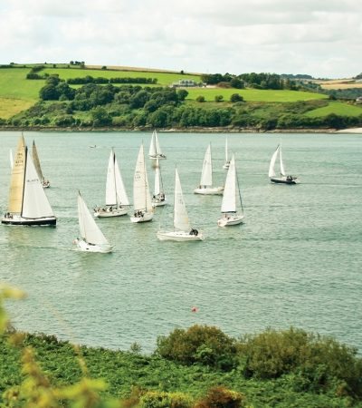 Sailboats compete in a competition viewed from Charles Fort in Kinsale, Ireland.