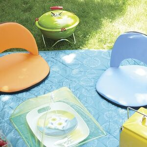 Various picnic accessories are set out on a blue picnic blanket.
