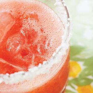 A closeup of a Strawberry Fizzer drink