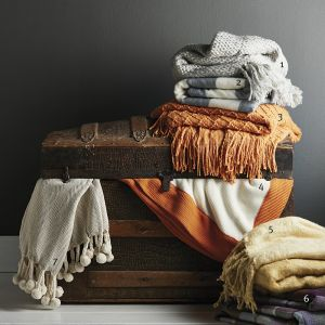 stacks of blankets around a chest