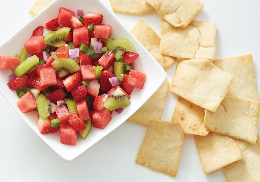 Watermelon salsa and pita chips