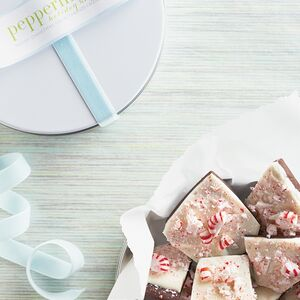 It takes about an hour to make our festive Holiday Peppermint Bark. Wrap shards in a parchment-lined tin.