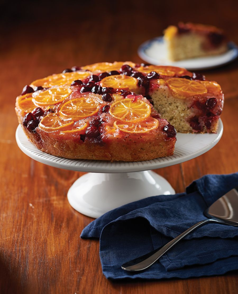 Clementines are buried with cranberries beneath the batter, and baked, only to come on out top as the darling of this moist, scrumptious upside-down cranberry-orange poppyseed cake.