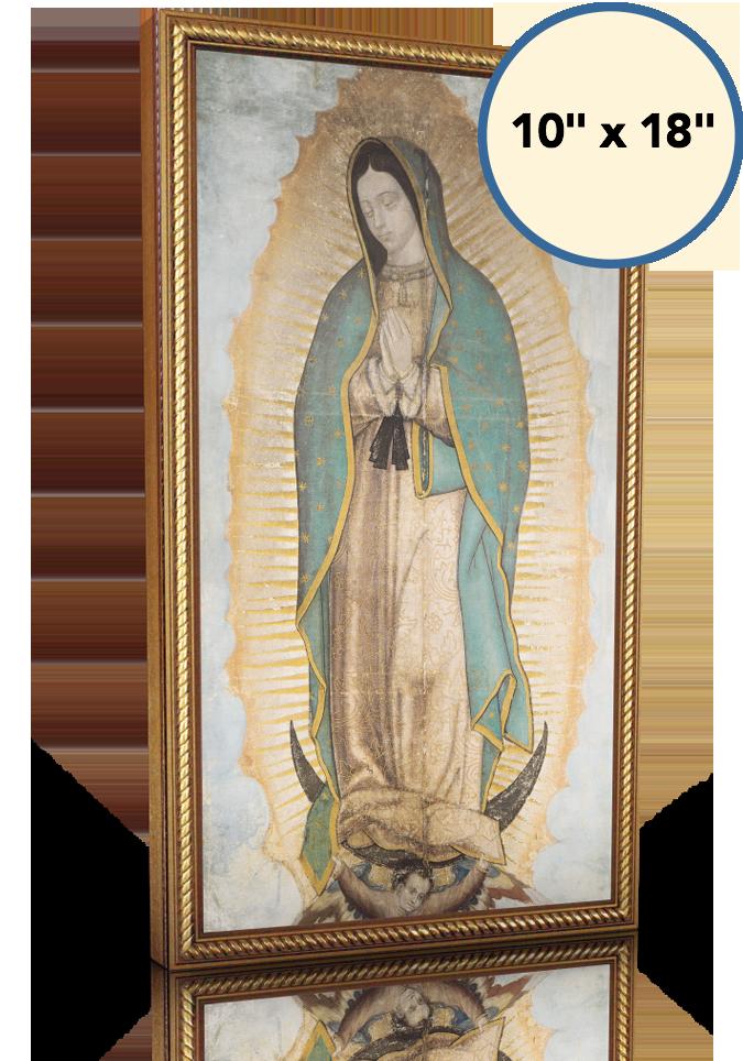Our Lady of Guadalupe - 10x18 - Gold Frame - Lighthouse Catholic Media