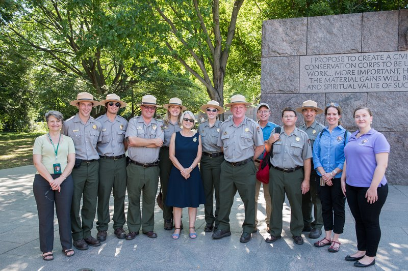 On August 26, 2016 Peace Corps Director Director Hessler-Radelet toured the National Mall and Memorial Parks with 11 returned Peace Corps Volunteers who now work with the National Park Service.