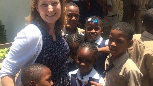 Rachel with students