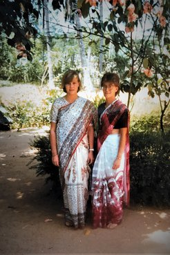 Two RPCV teachers clad in saree