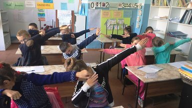 """The students love to show off their new sneezing and coughing techniques. Here are some of the third graders """"dabbing"""" away the microbes!"""