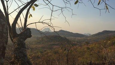 A mountainous landscape view of Malawi in dry season
