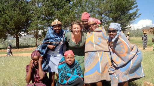 Heather Mangan, center, served in Peace Corps Lesotho, from 2011-13.