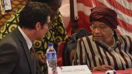 Ketover with former Liberian President Ellen Johnson Sirleaf.