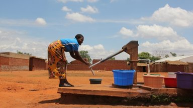A borehole, which serves as a water source for many villages in Malawi