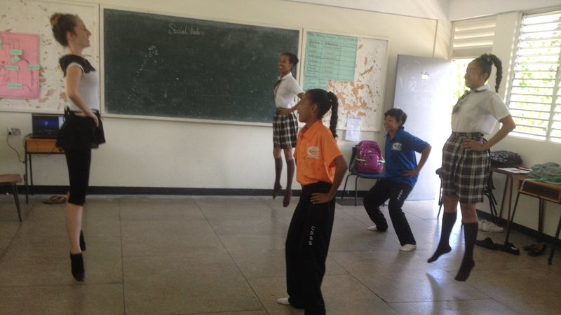 """Teaching my students to """"saute"""" at a ballet class."""