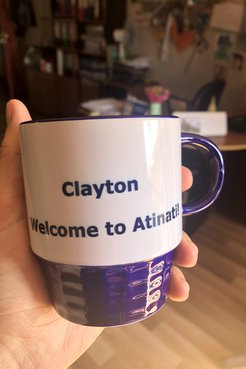 Mug with words Welcome Clayton!
